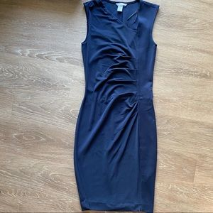 H&M Navy Ruched Sheath Office Dress XS